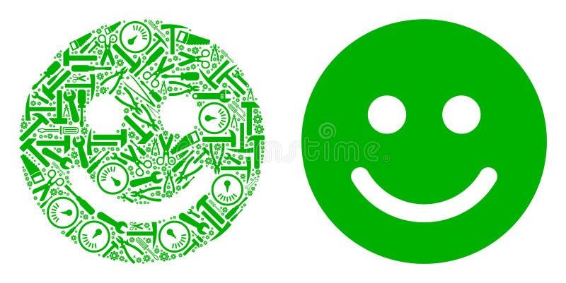 Glad Smile Mosaic de las herramientas del servicio ilustración del vector