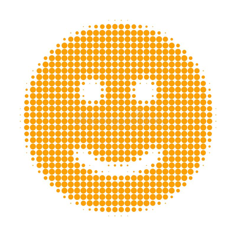 Glad Smiley Halftone Dotted Icon. Halftone pattern contains round dots. Vector illustration of glad smiley icon on a white background vector illustration