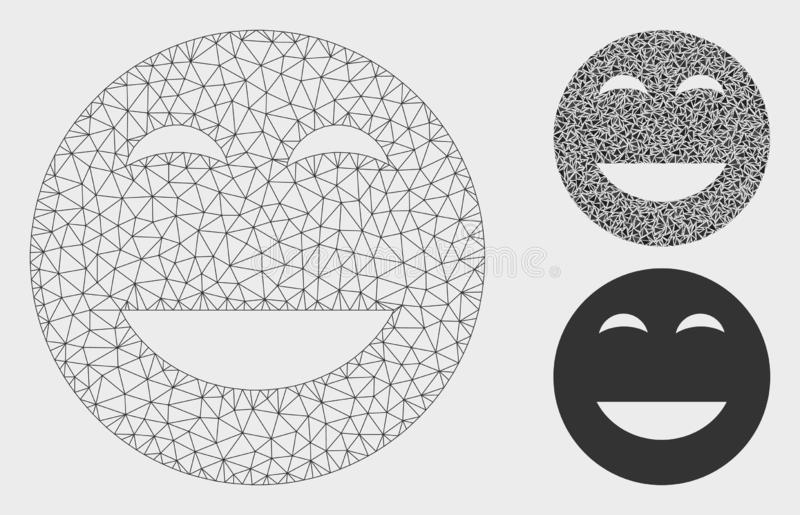Glad Smiley Vector Mesh 2D Model and Triangle Mosaic Icon. Mesh glad smiley model with triangle mosaic icon. Wire carcass polygonal mesh of glad smiley. Vector royalty free illustration