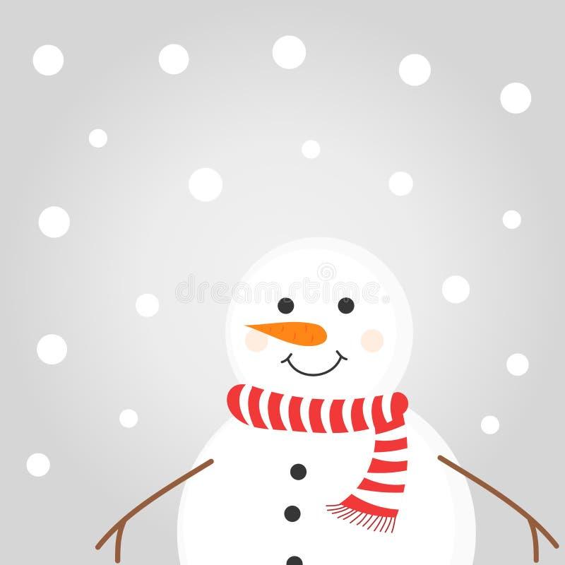 Glad snöman i en röd scarf vektor illustrationer