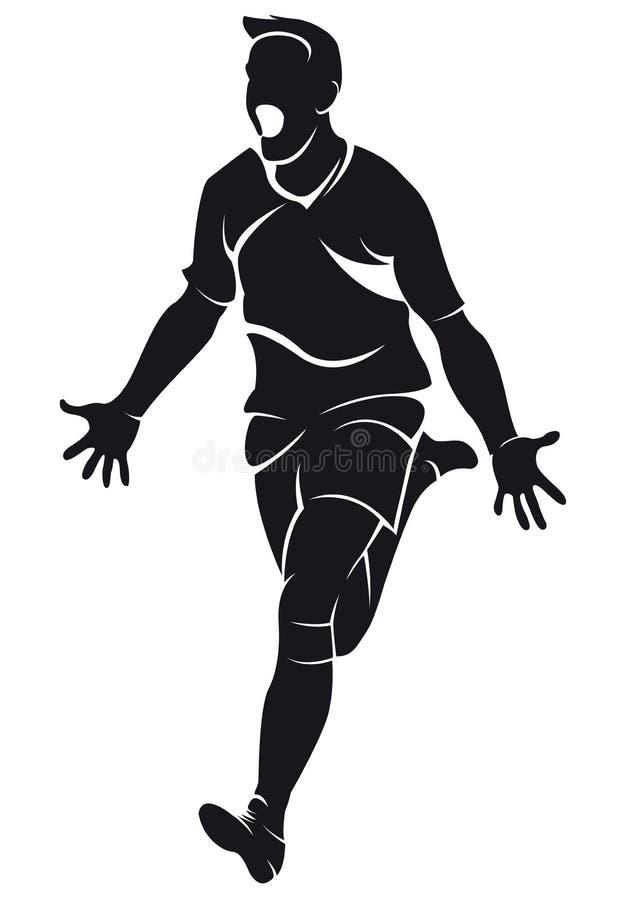 Glad sportsman celebrating a victory vector illustration