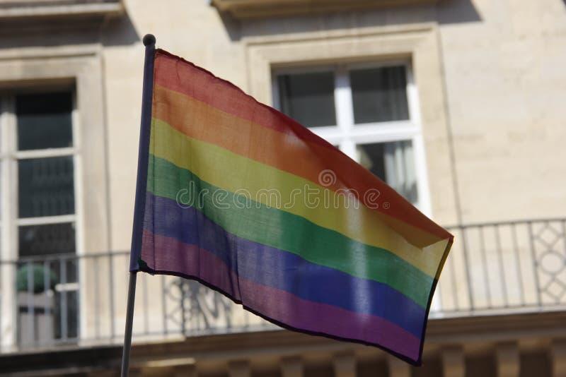 Glad stolthet i Paris_Rainbow Flag_June 24 2017 royaltyfri fotografi