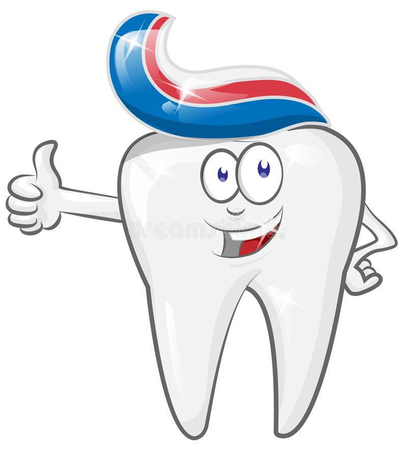 Glad strong cheerful cartoon tooth character with toothpaste. Glad strong  cheerful cartoon tooth character with toothpaste. vector illustration stock illustration