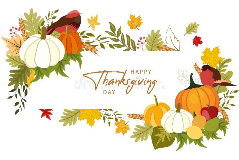Glad Thanksgiving-bakgrund med grönsaker och färgade blad vektor illustrationer