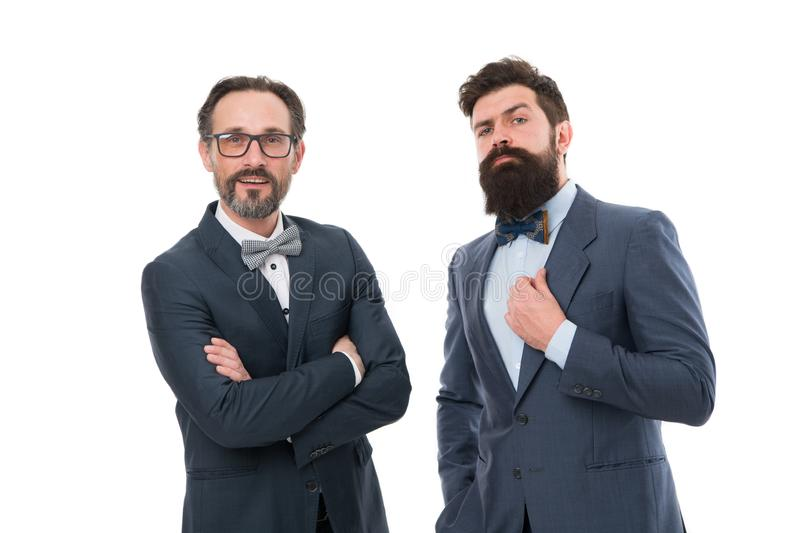 Glad to work with you. Bearded men. Mature hipsters with beard. Confident brutal men. Business. Modern businessmen. Formal businessmen. Man. Male in business royalty free stock images