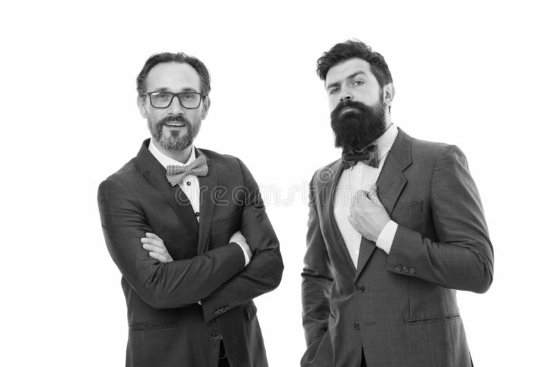 Glad to work with you. Bearded men. Mature hipsters with beard. Confident brutal men. Business. Modern businessmen. Formal businessmen. Man. Male in business royalty free stock image