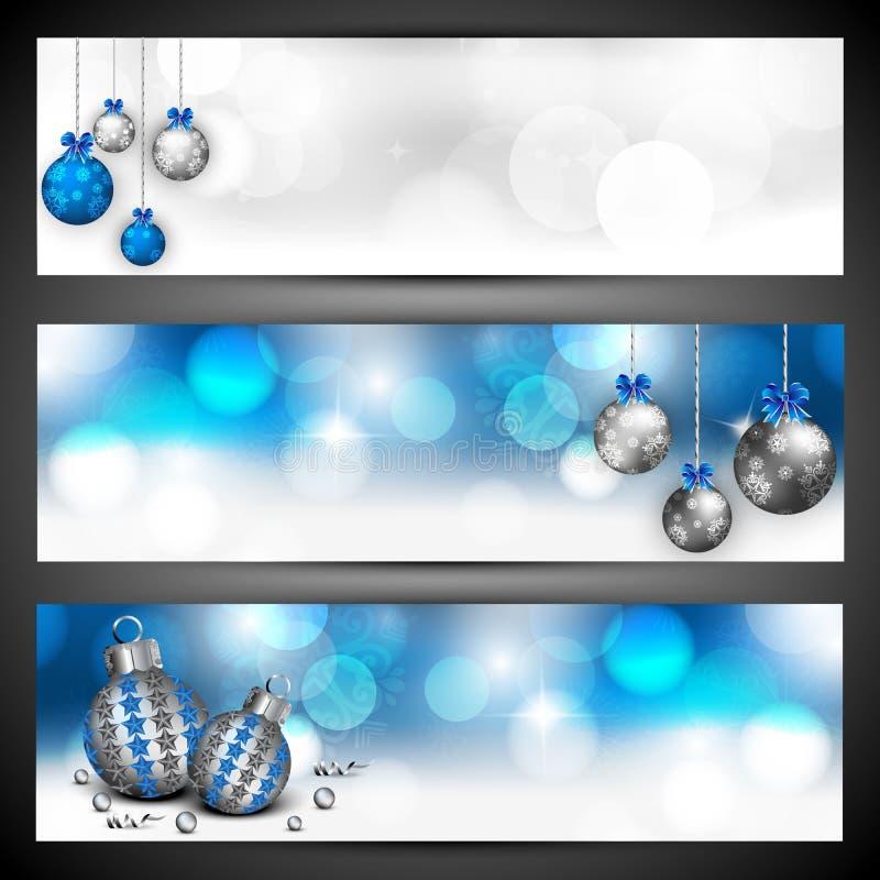 Glad uppsättning för för julwebsitetitelrad eller baner. vektor illustrationer