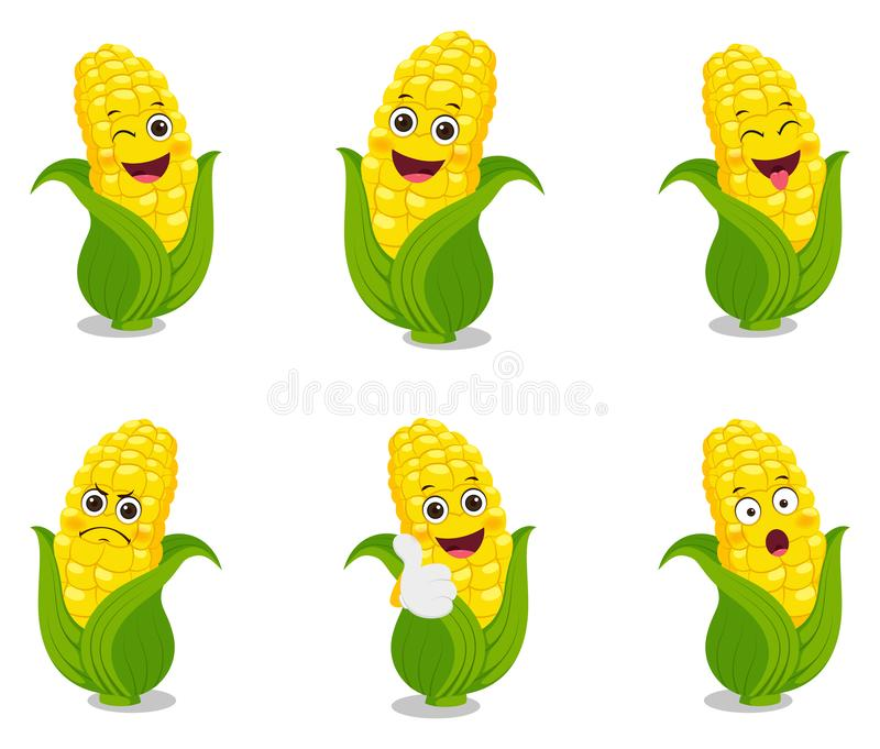 Glad utformning av majskartoon stock illustrationer