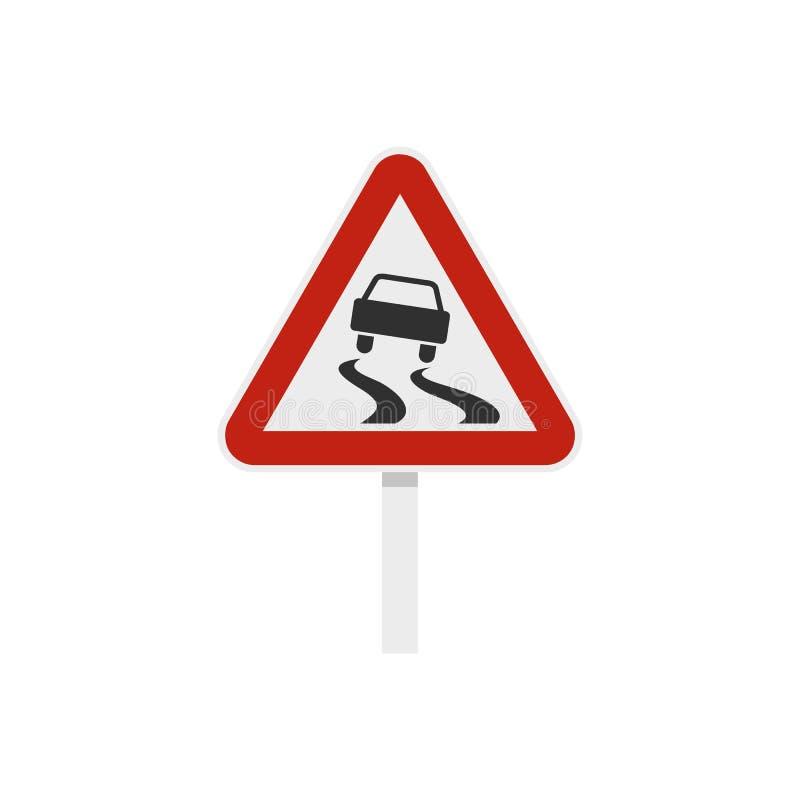 Glad wanneer nat verkeerstekenpictogram, vlakke stijl vector illustratie