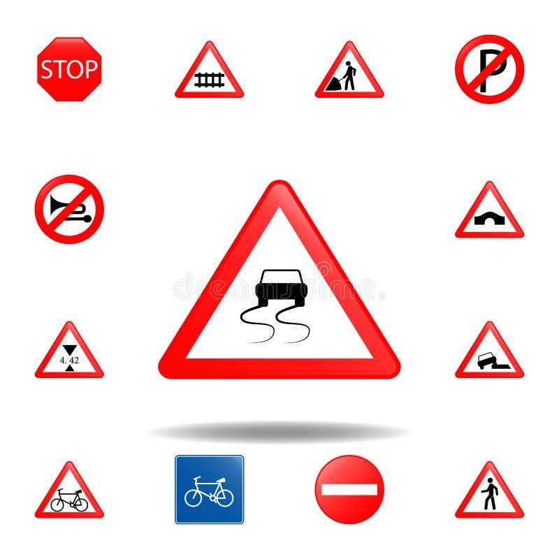 Glad weg vooruit pictogram reeks van verkeerstekenpictogram voor mobiele concept en webtoepassingen het gekleurde gladde weg voor stock illustratie