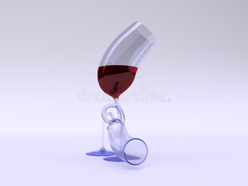 glad wine två för exponeringsglas royaltyfria foton