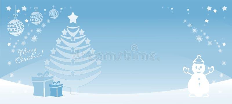 Glad Xmas för bakgrund med snögubben och trädet för nytt år, papperssnittstil, ljus - blått, baner som är färgrikt, vektor illustrationer