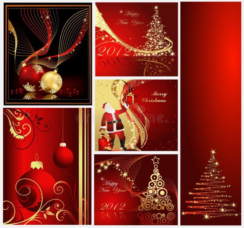 Glada julbakgrundssamlingar vektor illustrationer