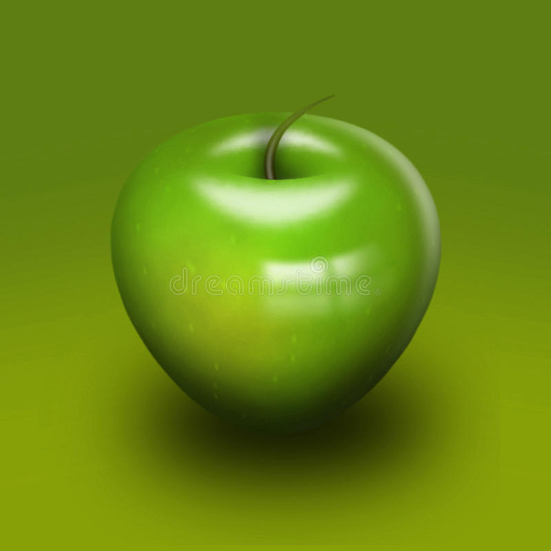 Gladde hoog polijst groene appel stock illustratie