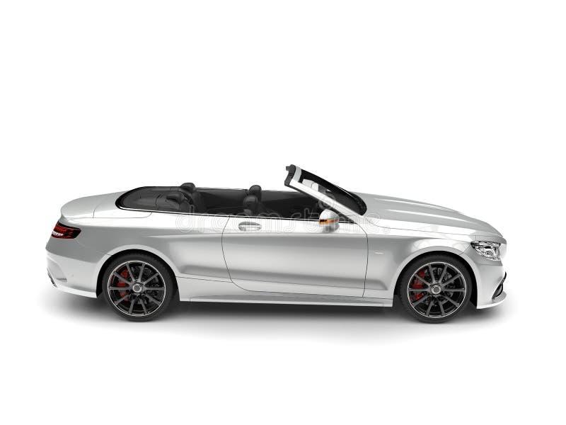 Gladde zilveren moderne luxe convertibele auto - zijaanzicht royalty-vrije stock fotografie