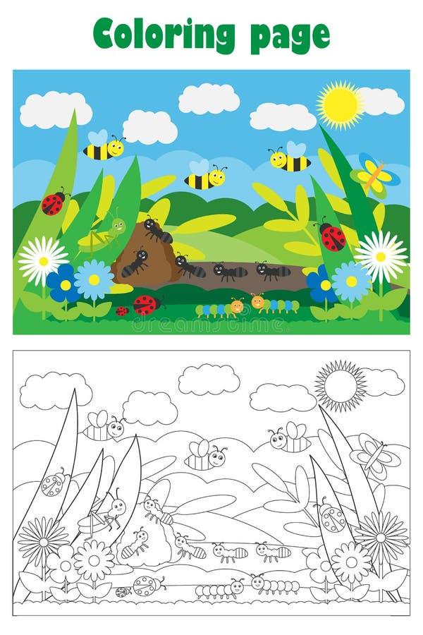 Glade с насекомым и цветками в стиле мультфильма, страницей расцветки лета, игрой бумаги образования для развития детей, детей иллюстрация вектора