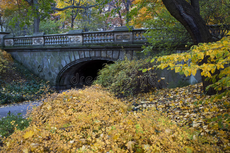 The glade arch. Autumn in Central Park at the glade arch stock photography