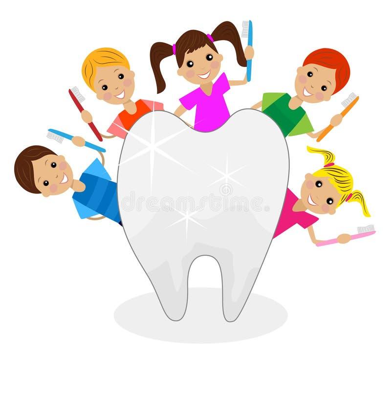 Glade barn med tandborstar i händer stock illustrationer