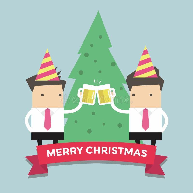 Glade Chirstmas affärsmän som rostar exponeringsglas av öl stock illustrationer