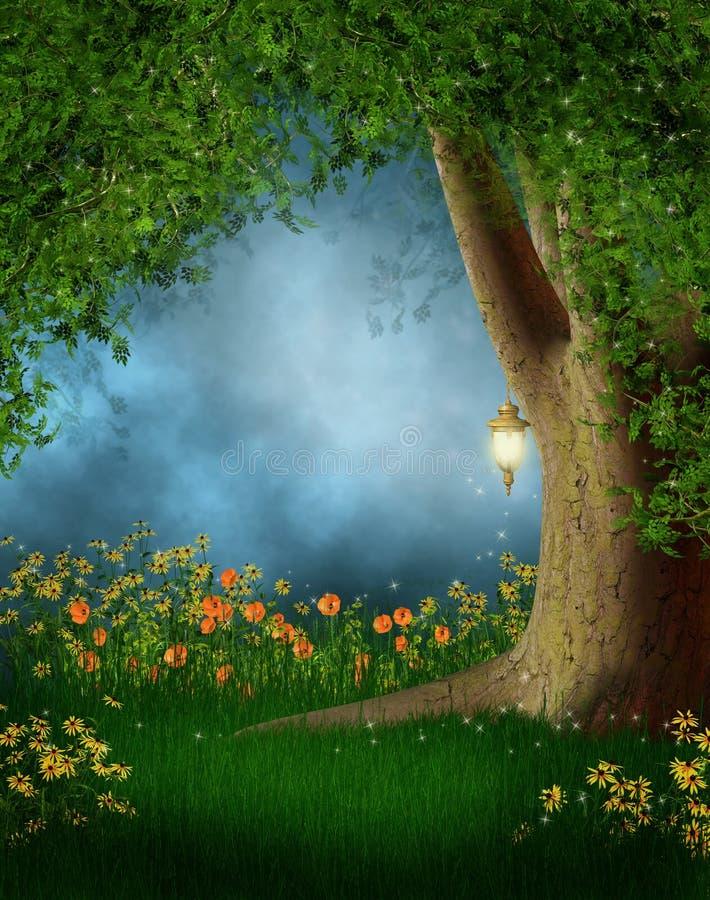 Glade da floresta com flores ilustração royalty free