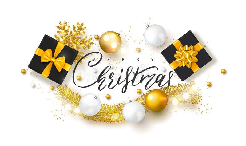 2019 glade jul och bakgrund för lyckligt nytt år med julbollar, gåvaaskar och glitter Vektorillustration för feriegree stock illustrationer