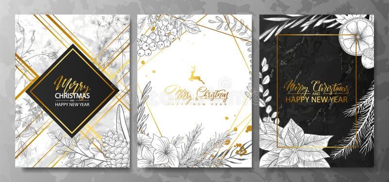 2019 glade jul och för lyxkort för lyckligt nytt år samling med marmortextur, guld- geometrisk form och hand-dragen vinter p vektor illustrationer