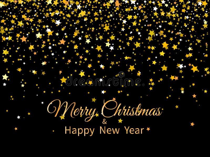 2020 glade jul och lyckligt nytt ?r Guld- stj?rnor och text p? m?rk bakgrund H?lsningkort 2020 f?r nytt ?r stock illustrationer