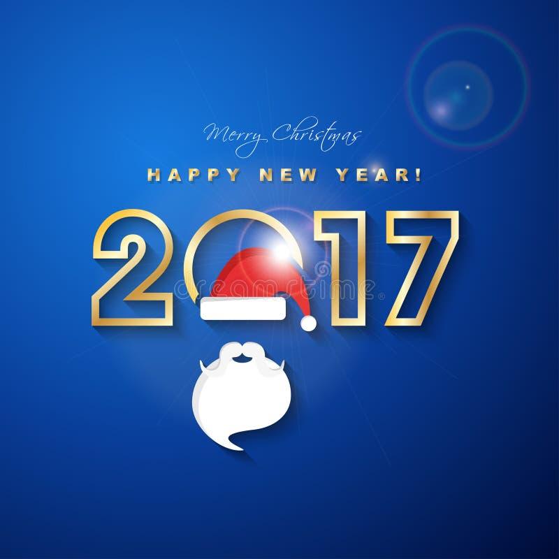 2017 glade jul och lyckligt nytt år med den Santa Claus hatten vektor illustrationer