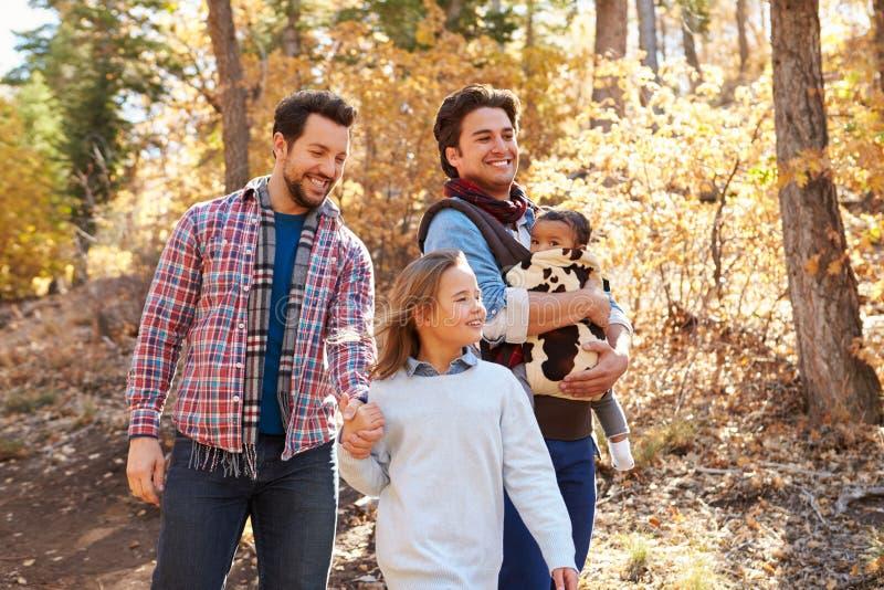 Glade manliga par med barn som går till och med nedgångskogsmark royaltyfri bild