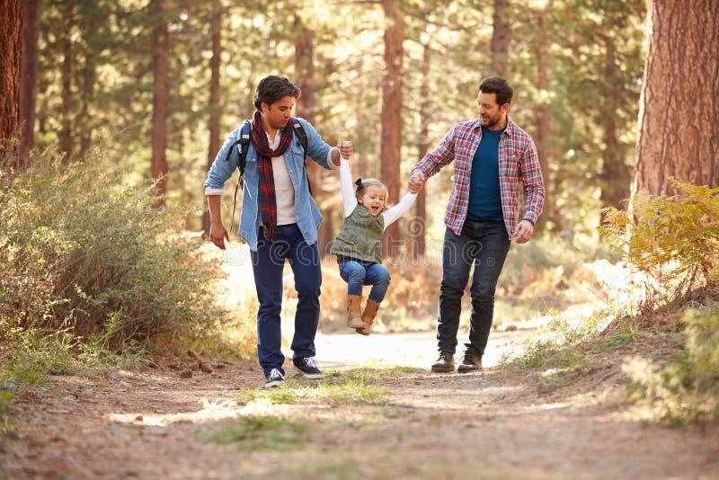 Glade manliga par med dottern som går till och med nedgångskogsmark arkivfoton