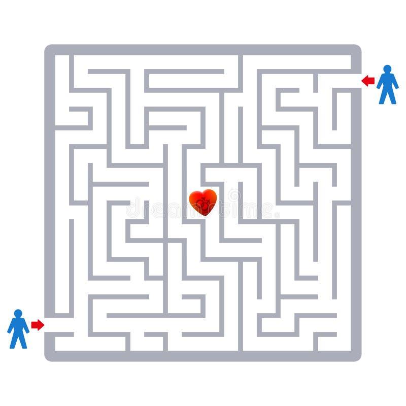 Glade problem för förälskelseparlabyrint som finner partnerlabyrint stock illustrationer