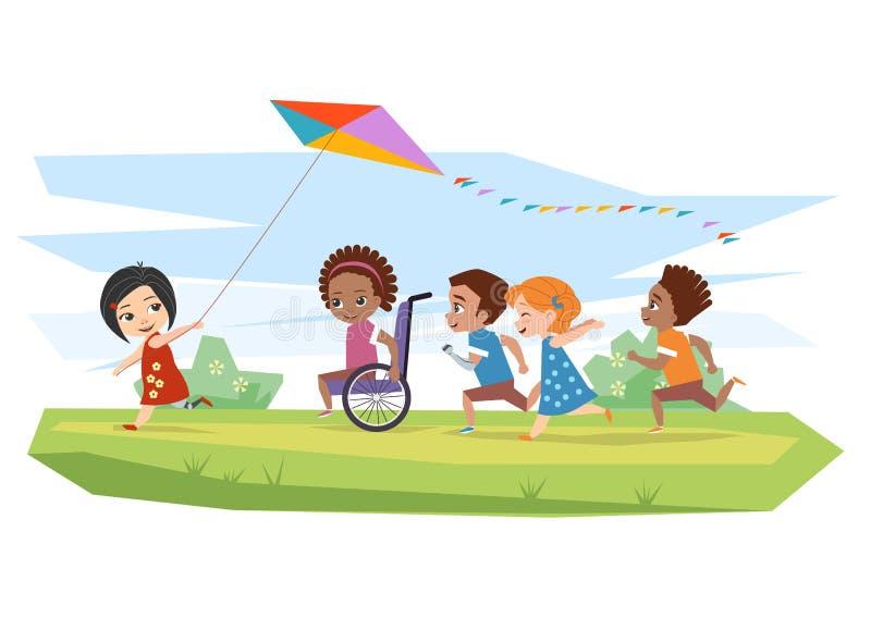 Glade rörelsehindrade barn och sund körning och körd drake utomhus stock illustrationer