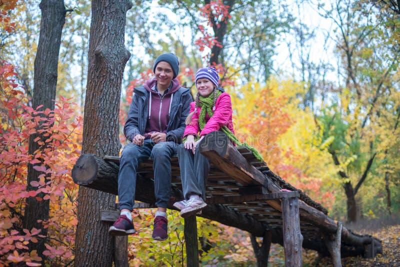 Glade tonåringar i höstskogen fotografering för bildbyråer