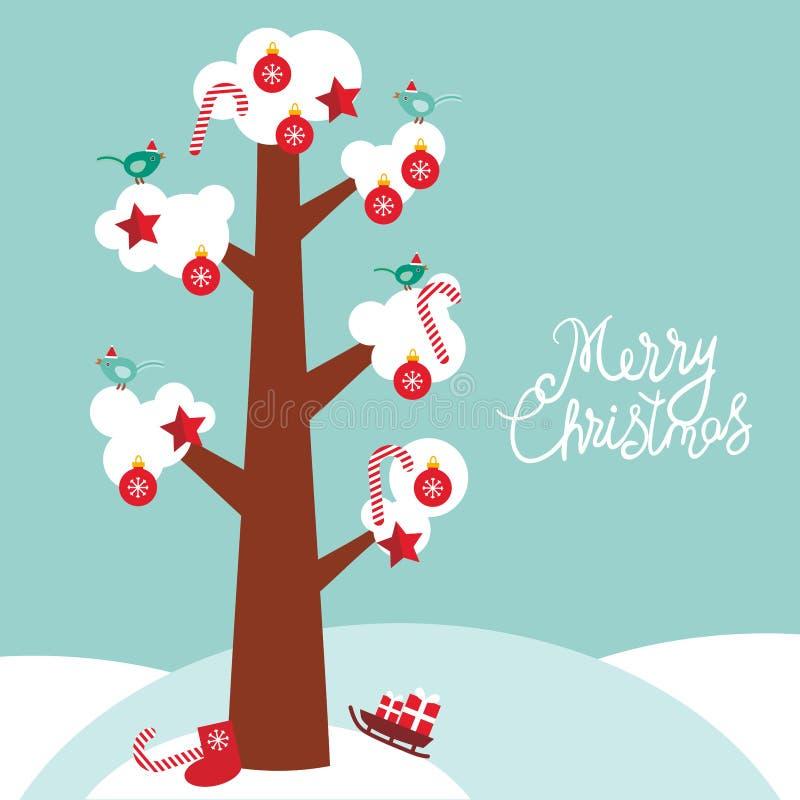 Glade träd för julkortdesign med vit snö på filialerna, fåglarna och de röda julgarneringarna Godis bollar, stjärnor, socka, royaltyfri illustrationer