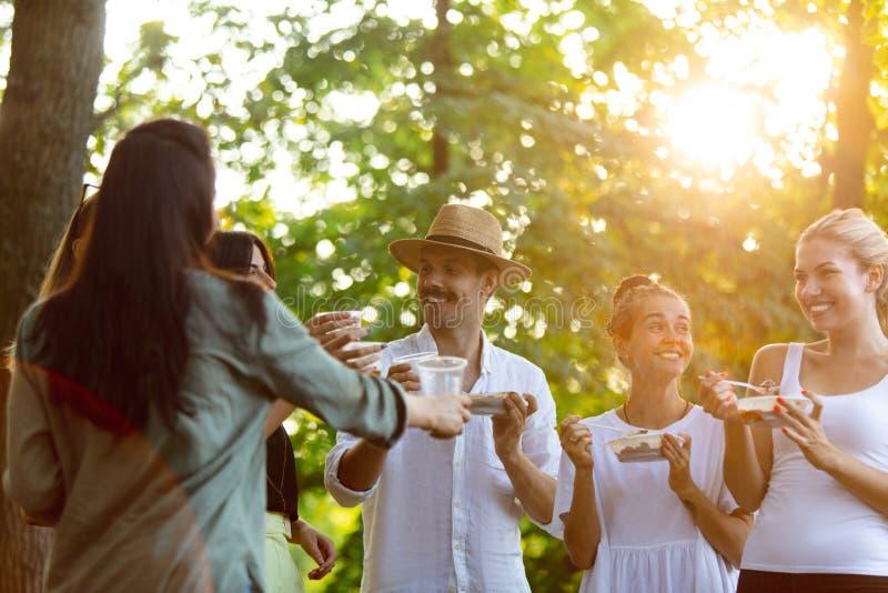 Glade vänner som äter och dricker öl vid barbemiddagen på solnedgången royaltyfri foto