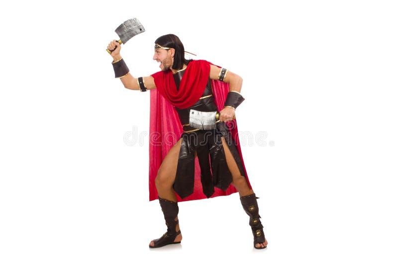 Gladiador con la cuchilla aislada en blanco imágenes de archivo libres de regalías