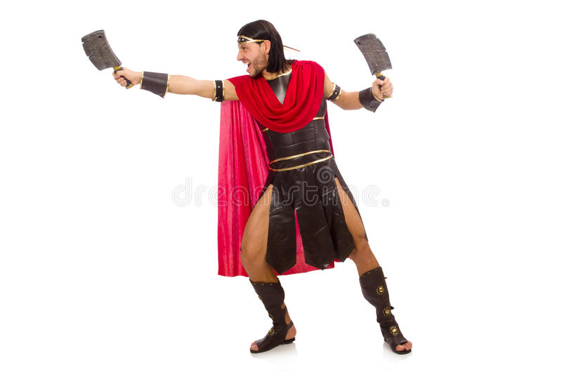 Gladiador con la cuchilla aislada en blanco imagenes de archivo