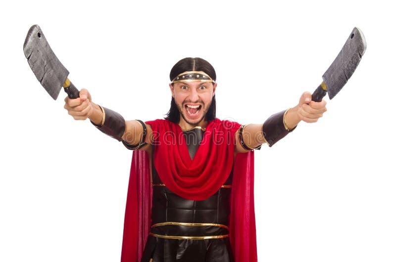 Gladiador con la cuchilla aislada en el blanco imagen de archivo