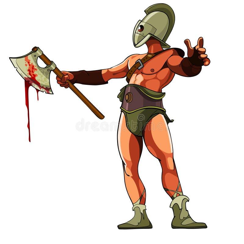 Gladiador con un hacha sangrienta libre illustration