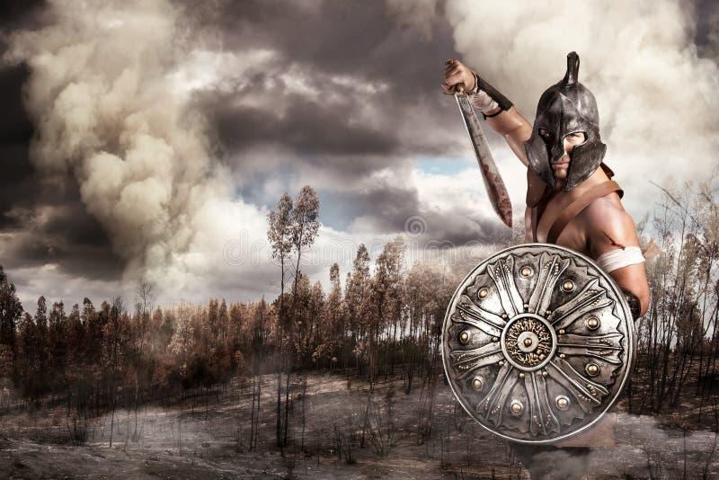 Gladiador em uma batalha foto de stock
