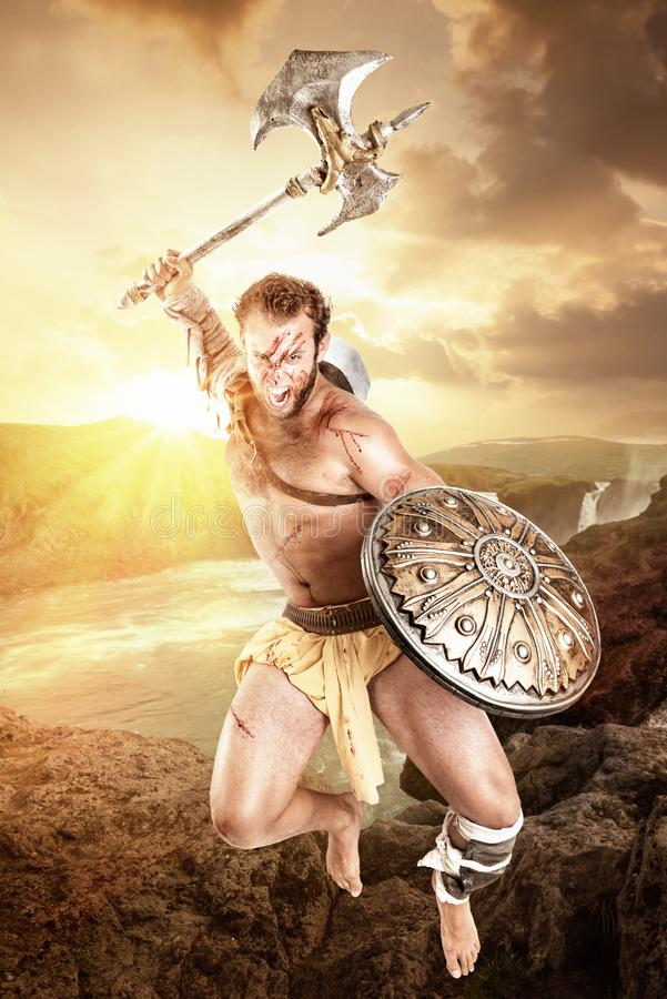 Gladiador/guerrero antiguos en batalla fotografía de archivo