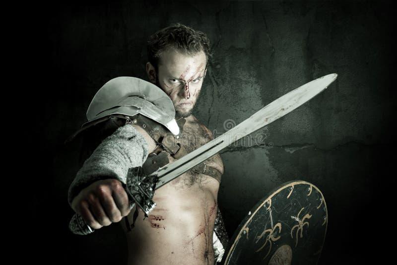 Gladiador/guerrero bárbaro imagen de archivo libre de regalías