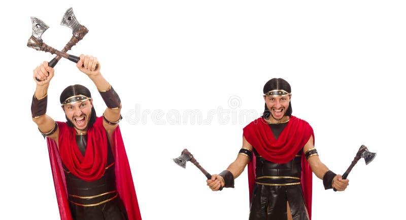 Gladiador isolado no fundo branco imagens de stock