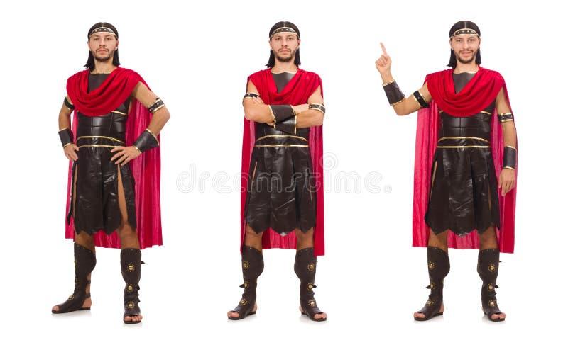 Gladiador isolado no fundo branco foto de stock royalty free