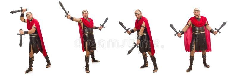 Gladiador isolado no fundo branco imagem de stock royalty free