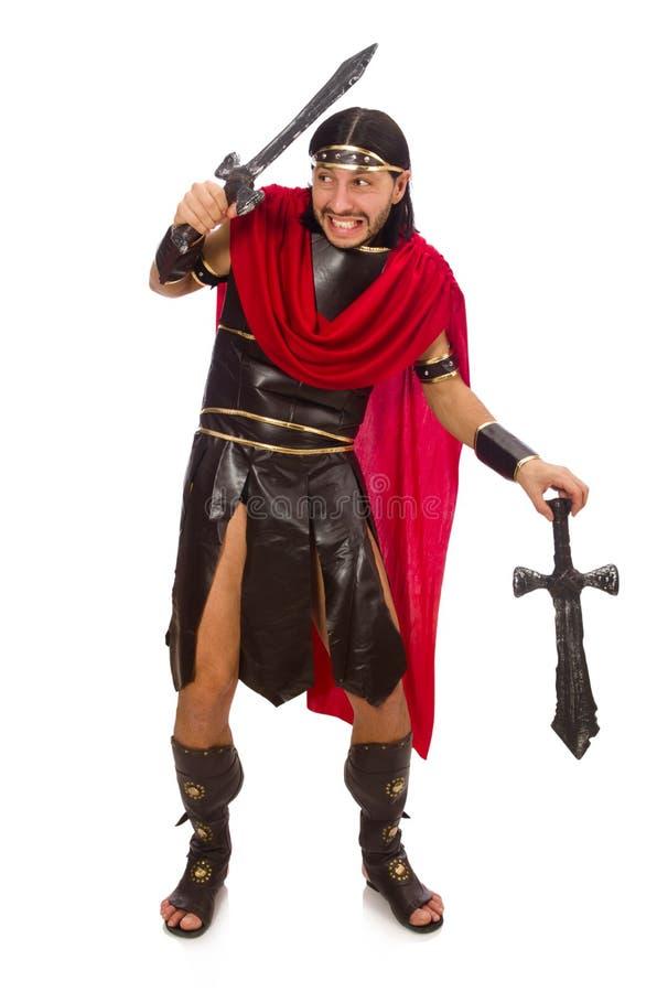 Gladiador no branco imagem de stock royalty free