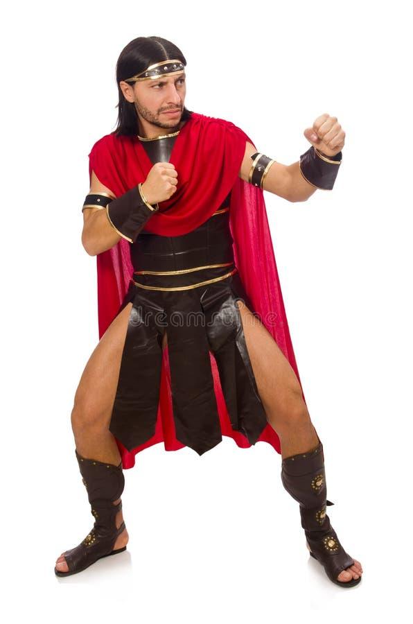 Gladiador no branco fotografia de stock royalty free