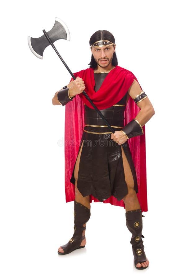 Gladiador que sostiene el hacha fotos de archivo