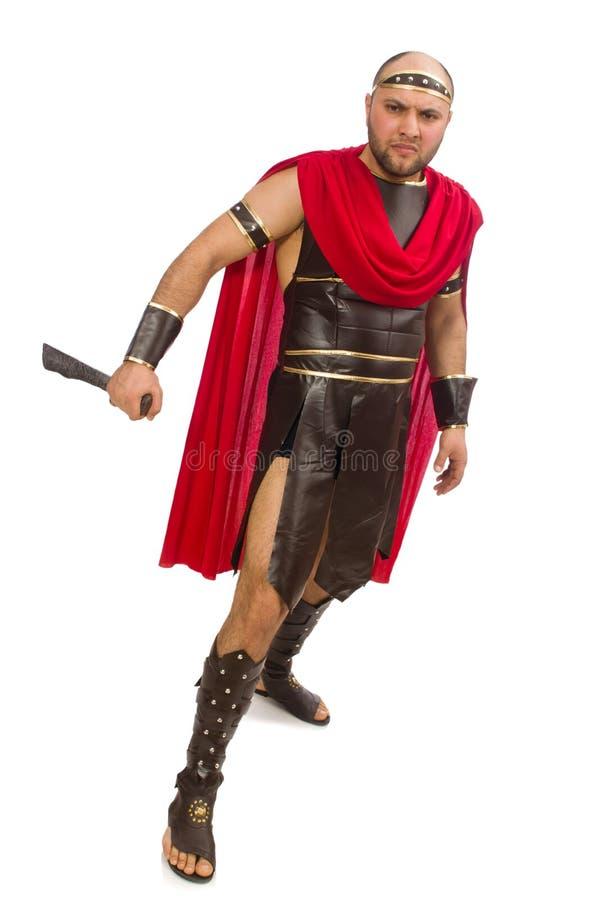 Gladiador que sostiene la espada aislada en blanco fotos de archivo