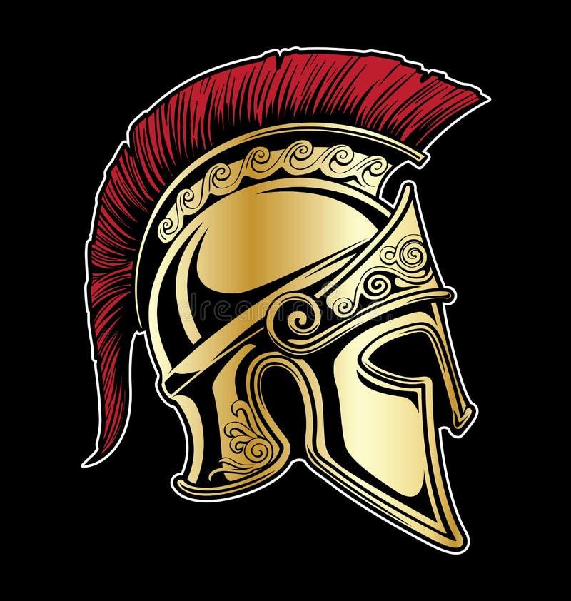 Gladiador Spartan Helmet Vetora Illustration ilustração royalty free